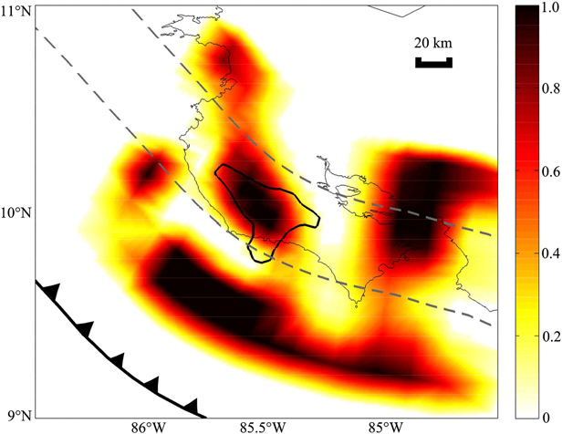 Interface Locking inferred from deformation occurring between slow-slip events around Nicoya